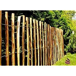 Valla de listones de impermeabilizado, valla de madera con puntas seguras para ser utilizada como valla de jardín, para parcelas o como protector de estanque - Largo: 5m, Distancia estacas:(3-4 cm), Altura:100 cm