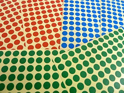 Rojo Azul Verde Adhesivos Pequeño 8mm Círculos Redondo Color Etiquetas Adheribles