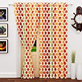 #5: Story@Home 2 Piece Nature Eyelet Polyester Square Pattern Door Curtain - 7ft, Multi Color