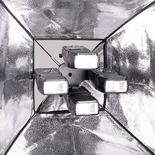 Professioneller Blitzhalter für bis zu 4 Aufsteckblitze mit Halterung für einen Studioschirm komplett mit Softbox für Spigots 3/8 bis 5/8
