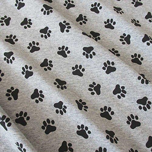 Werthers Stoffe Stoff Baumwolle Jersey Meterware grau meliert Pfoten Tatzen schwarz Abdrücke Hund -