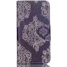 Guran® Pintado Funda de Cuero Para Acer Liquid Z330 Smartphone Tirón de la Cubierta de la Función de Ranura Tarjetas y Efectivo Caso-la flor del cordón