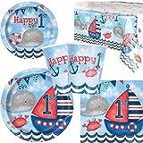 Naútico 1º Cumpleaños Vajilla para fiesta para 8