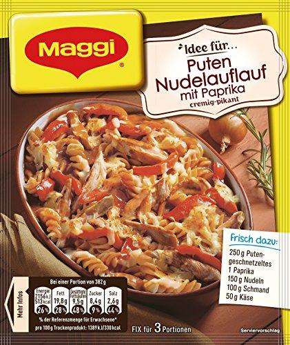 Maggi fix und frisch, Puten-Nudelauflauf mit Paprika, Beutel, ergibt 3 Portionen, 39 g