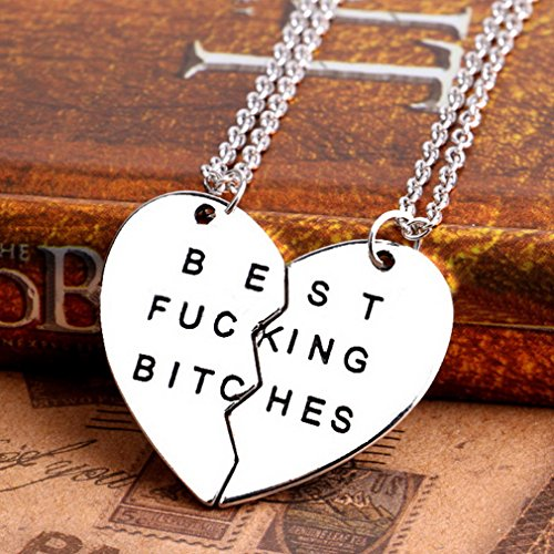 MJARTORIA Damen Halskette Silber Farbe Kette mit Gravur Best Bitches Initial Herz Anhänger Freundschaftsketten 2 Stück Pullover Kette