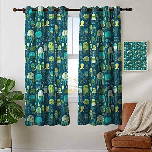 petpany Ösenvorhänge Quallen, Aquarelle Unterwasserblau, Verdunkelungsvorhänge für Schlafzimmer Fenster, Polyester, Color12, 42'x54'(W106cmxL137cm)