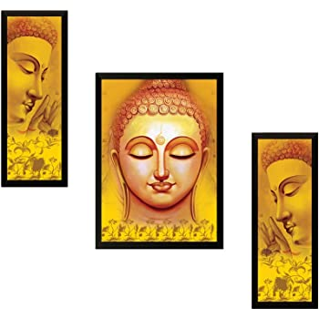 SAF UV Textured Buddha Print Framed Painting Set of 3 for Home Decoration – Size 35 x 2 x 50 Cm
