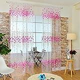 Gowind6 Paneele, Blumen-Offsetdruck, durchsichtig, Garn, Tüll, Fenster-Scheibe, Voile-Vorhang Rose