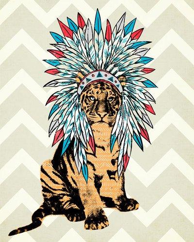Wheatpaste Art colectiva Ceremonial Tigre por WP casa Lienzo, 18por 24Pulgadas