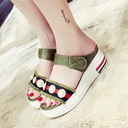 RUGAI-UE Estate fondo spesso pendenza scarpe antislittamento sandali ciabattine Green