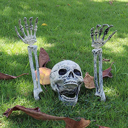 Halloween Skelett, Realistisches Skelett, Halloween Spukhaus Realistische Knochen SchäDel Kopf Und HäNde FüR Friedhofsszene Cosplay Horror Dekorationen Hausgarten Hof Rasendekoration, 2 Stk