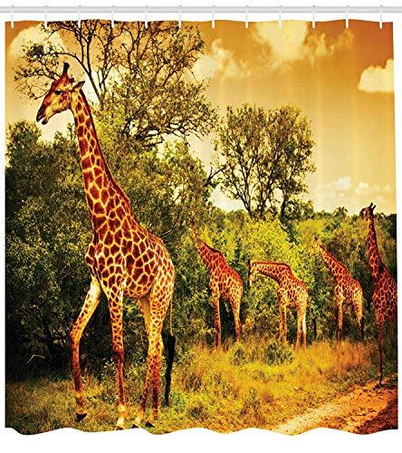 schvorhang Afrikanische Safari Tiere Spaziergang im grünen Wald Savanne Wildlife Thema, Stoff Stoff Badezimmer Dekor Set mit Haken 213,4 cm extra lang, dunkelorange grün ()