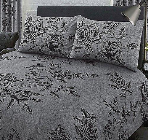 My Home Doppelbett Wild Rose Schiefer,/Bettbezug Set, Floral Blätter Criss Cross Stroh Leinen Look Effekt, grau anthrazit schwarz -