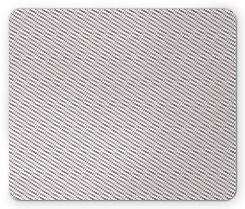 Purple and Grey Mouse Pad, Diagonal Wavy Stripes Design Abstract Ornate Herringbone Zigzags, Standard Size Rectangle Non-Slip Rubber Mousepad, Grey Cream and Purple -