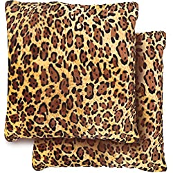 Casa Molona Conjunto 2 Fundas cojín 45x45 para sofá. Funda Lavable de Pelo Suave y calentito, con Cremallera Oculta, tamaño 45 x 45 cm (Leopardo)