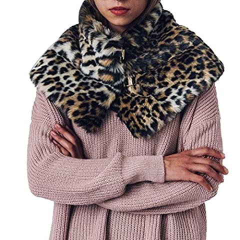 Neu Frauen Winter Faux Pelz Schal Wrap Kragen Schal Shrug,Hirolan Frau Schal Warm Damen Schals Weich Halstuch Kurz Poncho Stola Kapuzenpulli (87x28cm,