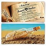 Hochzeitseinladungen (20 Stück) Flaschenpost Motiv Einladungskarten