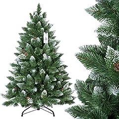 Idea Regalo - FairyTrees Albero di Natale artificiale PINO, innevato bianco naturale, materiale PVC, vere pigne, incl. supporto in metallo, 120cm