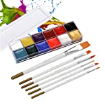 Goolsky 12 Colors Solid Oily Face Paint Pigment Greasepaint Kit with 6pcs Paintbrush Brushes Safe Body & Face Paint...