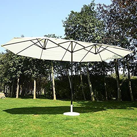 2.4x4.6 m Double Aluminum Umbrella Parasol-Cream White - Sunny days are great, but sometimes you just need a little shade.