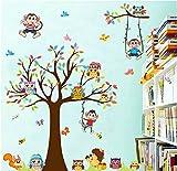 Stickerkoenig Wandtattoo Cartoon lustige Tiere Affen Äffchen auf Baum mit Schaukel und Eulen, Igel, Vögel bunte Deko Sticker für Kinderzimmer #8192