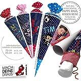 Schultüte, Zuckertüte in 70 cm oder 85 cm, dunkelblau kleine Sterne inklusive Papprohling mit vielen Personalisierungsmöglicheiten, als Kuschelkissen weiter nutzbar