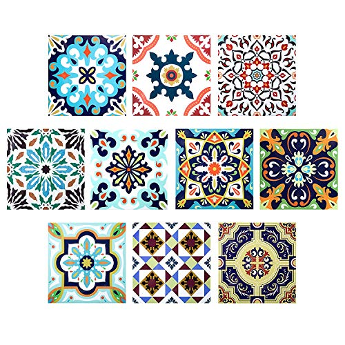 Adesivi per Piastrelle, Comius 10 PCS DIY Impermeabile Autoadesiva Vetro Piastrelle Adesivi Muro Decals Piastrelle Tile Stickers per Bagno, Toilette, Cucina, Soggiorno (20cm×20cm) (A)