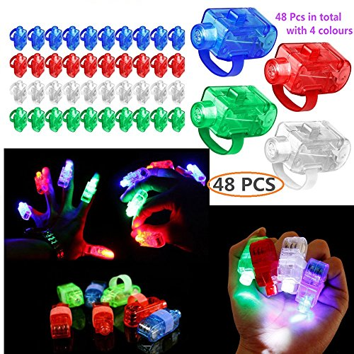 gbaoy 48 PCS LED-Fingerlichter Party Laser Finger Licht Up Beam Taschenlampe Glow Ring und Super Bright Finger Taschenlampen - Finger-ring Lichter