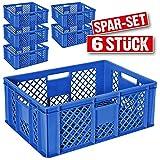 6x Eurobehälter durchbrochen / Stapelkorb, Industriequalität, lebensmittelecht, 600 x 400 x 240 mm, blau