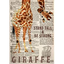 Watercolor Giraffe Dictionary Art 7x10 Inch Ruled Notebook: Classic Notebook with Stand Tall and Be Strong Inspirational Quote Cover (Cute and ... and Other Gifts for Women and Teen Girls)