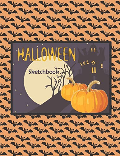 Halloween Sketchbook: a Large Notebook with 100 Blank Pages, Halloween Motifs Inside (8,5 x 11 inches) (Stories Scary Halloween Happy)