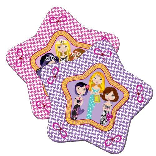 8 Teller * GLAM GIRLS * mit tollem Glitzer-Effekt für Party und Geburtstag // Kinder Geburtstag Party Fete Set Pappteller Mädchen Rosa Pink Partyteller