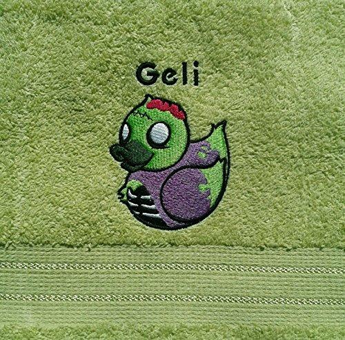 bestickt mit Motiv und Name Entenhandtuch Badeente (Zombie-handtuch)