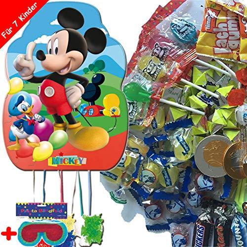 Pinata-Set * Mickey Mouse * mit XL-Piñata + Maske + 100-teiliges Süßigkeiten-Füllung No.1 von Carpeta | Spanische Zugpinata für bis zu 7 Kinder | Tolles Disney-Spiel zum Kindergeburtstag (Mickey Pinata)
