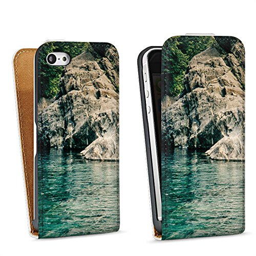 Apple iPhone 4 Housse Étui Silicone Coque Protection Rochers Baie Mer Sac Downflip blanc