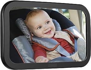 Dolank Baby Rücksitzspiegel, Baby Rückansicht Autositzspiegel, 100% bruchsicher Baby Rücksitzspiegel, Kippfunktion Klarsicht von Infant in Rückfahrautositz, Sicher & Bruchsicher, 360 °Rotation Sicherheits Auto Rückspiegel mit Verstellbaren Gurt (Schwarz)