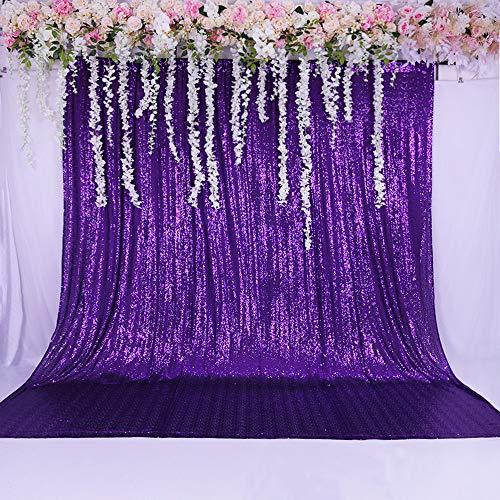 TRLYC Shimmer Pailletten-Stoff Foto-Hintergrund für Hochzeit, Sonstige, violett, 5ftx9ft - 4 Violetten Schimmer