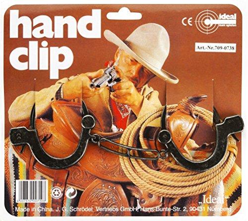 J.G.Schrödel Handschellen Antik: Kinder-Handschellen aus Kunststoff und Zink für Cowboy-Kostüme, mit Sicherheitshebel zum Öffnen, auf Karte, grau (709 0738) (Kind Cowboy Kostüm)