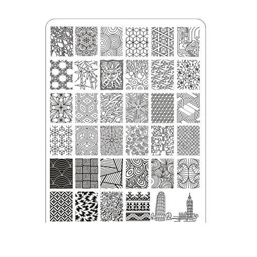 Xshuai Qualität 14.5 * 9.5cm DIY Nagel-Kunst-Bild-Stempel, das Muster-Platten-Maniküre-Schablone stempelt (B) (Ziehen Schädel)