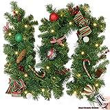 Valery Madelyn 6ft 1.8m beleuchtet traditionelle rote grüne Silber und weiße Weihnachtsgirlande mit Kugel und Beere, batteriebetriebene 20 LED-Lichter, mit Fernbedienung und Timerfunktion