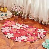 Yangguang ZENGAI Alfombras Pastoral Semi impresión a Color - Circular cojín de la Manta acrílica, tapetes, esteras del Dormitorio Sala (Color : E-65 * 115cm)