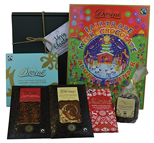 Divine Chocolate Fairtrade Luxury Christmas Hamper 1 - Advent Calendar, Gourmet Selection, Cranberry, Hazelnut, Chilli, Toffee, Dark White and Milk Chocolate - Includes Christmas Gift Box & Tag!