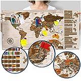 murando - Rubbelweltkarte deutsch Pinnwand - 90x45 cm - beige - Weltneuheit: Weltkarte zum Rubbeln - Laminiert (beschreib- & abwischbar) - Rubbelkarte mit Fahnen/ Nationalflaggen - Inkl. 50 Markierfähnchen/ Pinnnadeln k-A-0224-o-c