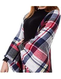 5d1d075a75a8 Atmoko Écharpe Châle Plaid Cachemire Hiver Automne Printemps en Tricot  Laine Tissu Glands à la Mode pour Femme Fille Homme Garçon,…