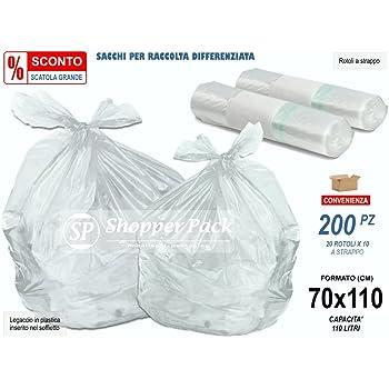 OFFERTA -12% Scatola da 200 pz - SACCHI TRASPARENTI Raccolta Differenziata, Spazzatura GRANDI in Plastica LDPE Misura Cm 70x110 - 200 SACCHI (20 rotoli x 10). Buste e sacchi per immondizia, sacchetti