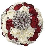 Zinsale Luxus Seide Shinny Handarbeit Strass Braut Hochzeits-Blumenstrauß Diamant Blume halten (Weinrot + Creme)