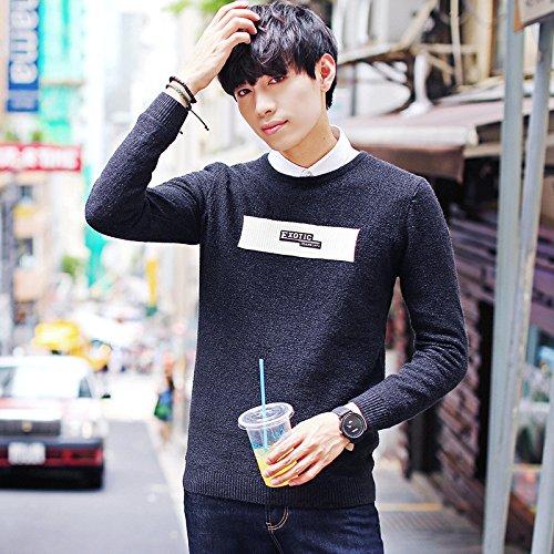 Die Jugend Rippe Crewneck Sweater männlichen Koreanische Version des Sau gestreiften Pullover Männer Freizeit suite Kopf, Schwarze Serie L - Männer, Black Die Suite