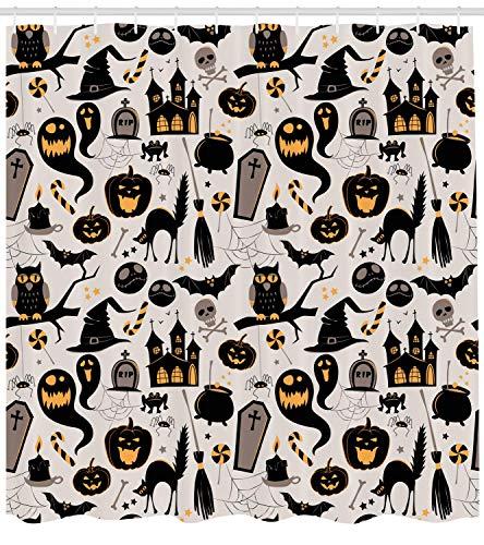 Nyngei Vintage Halloween Duschvorhang Halloween Cartoon Jack o Laterne Grabstein Schädel und Knochen Stoff Badezimmer Dekor Set mit Light Grey Multicolor