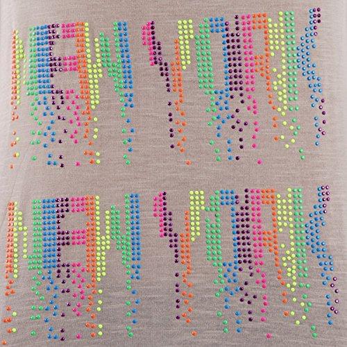 La Modeuse - Débardeur se terminant par des franges avec New-York écrit deux fois en strass multicolores Blanc