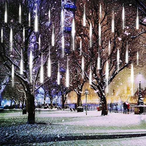 Lumières de Pluie, EONANT 30cm 10 Tubes 360LEDs Feux Solaires Lumières de Douche Météorologiques Gouttes de Pluie pour les Arbres Fêtes Mariage Maison de Jardin Décoration (Cold White)